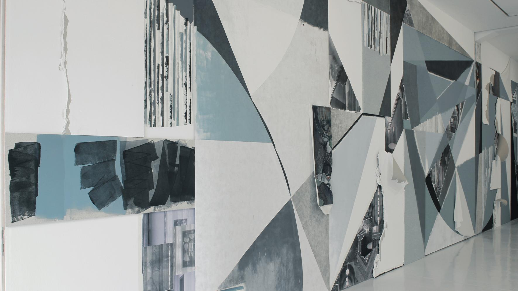 Alexander Wolff, Wandbild KAI 10 Düsseldorf, 2011, collage on wall, Courtesy Galerie Ben Kaufmann, Berlin, installation view KAI 10